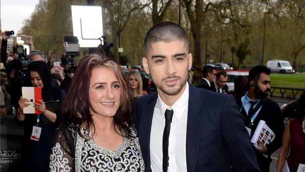 Zayn Malik and mother Trisha attend the 2015 British Asian Awards