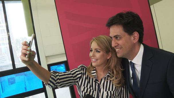 The Only Way Is Essex star Lydia Bright meeting Labour leader Ed Miliband as part of the @useyourvoice campaign which encourages young people to vote (Beaumont Communications/PA)