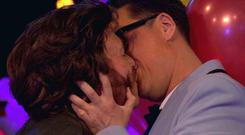 Fashion expert Gok Wan kisses Keith Lemon in Thursday's birthday episode of Celebrity Juice (ITV2/PA)