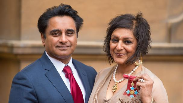 Meera Syal with her husband Sanjeev Bhaskar at Buckingham Palace