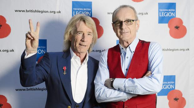 Rick Parfitt, left, and Francis Rossi of Status Quo during the VE Day 70: A Party to Remember concert