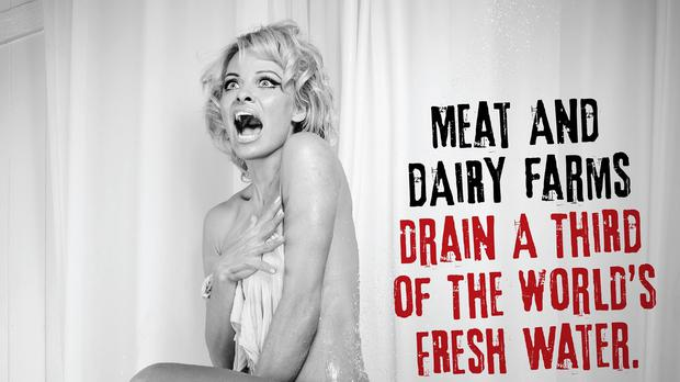 Pamela Anderson recreating the famous Psycho shower scene in an advert for Peta.