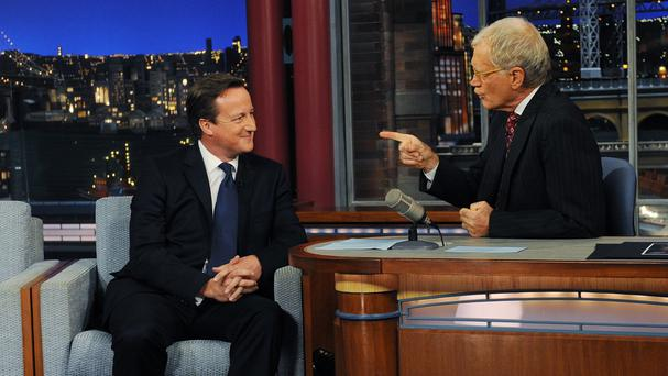 Prime Minister David Cameron appeared with David Letterman after he addressed the United Nations General Assembly