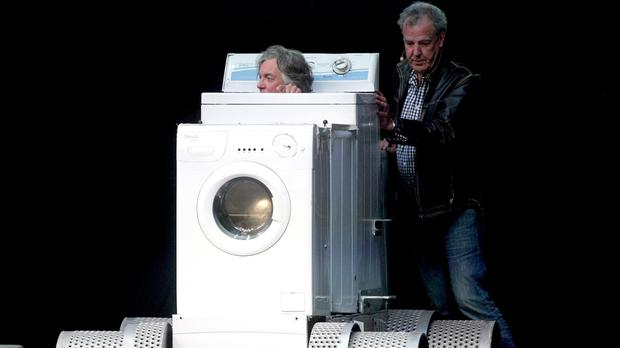 James May and Jeremy Clarkson during the opening night of Clarkson, Hammond and May Live at the Odyssey Arena in Belfast