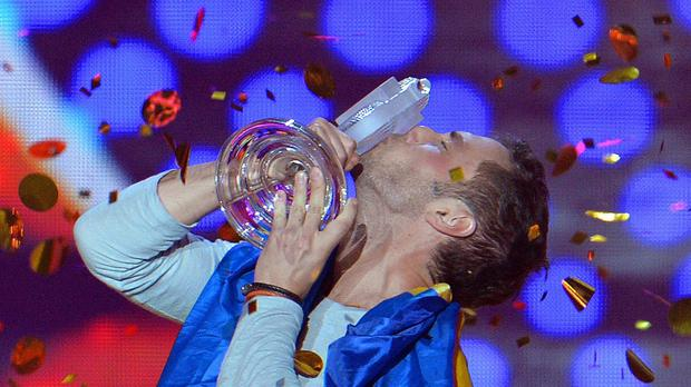 Mans Zelmerlow representing Sweden, celebrates after winning the final of the Eurovision Song Contest in Austria's capital Vienna (AP)