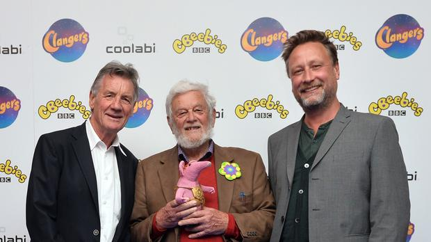 Michael Palin, Peter Firmin and Dan Postgate attend the launch of the new Clangers series