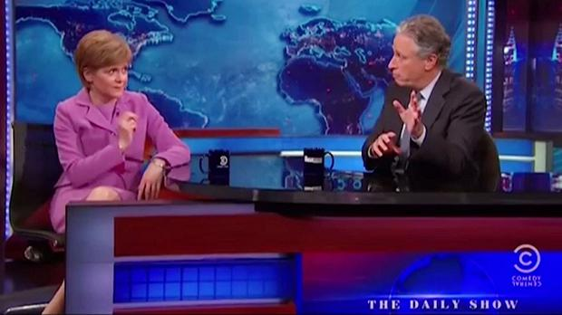Scotland's First Minister Nicola Sturgeon appearing on The Daily Show with host Jon Stewart (Comedy Central/PA)