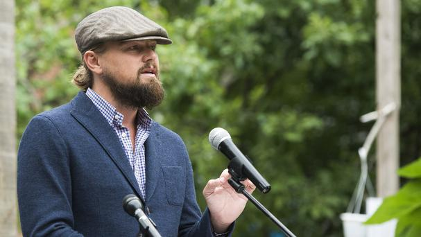 Leonardo DiCaprio speaks at the Solutions Project garden party at La Plaza Cultural (AP)