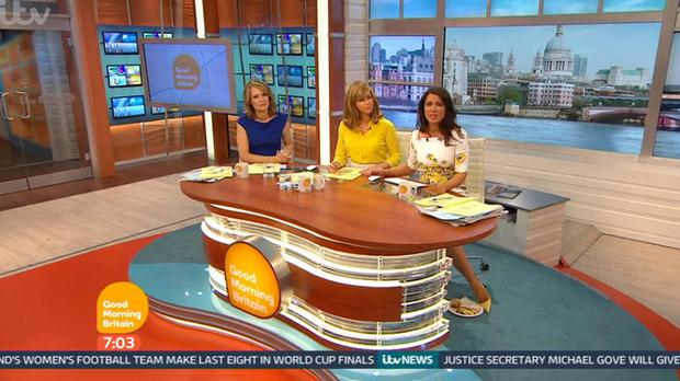 Charlotte Hawkins, Kate Garraway and Susanna Reid as cameras caught Reid's breakfast on the floor during the broadcast of Good Morning Britain (ITV/PA)