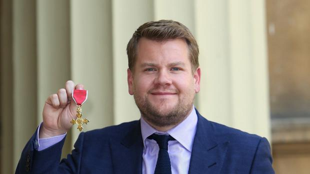 James Corden received his OBE at Buckingham Palace