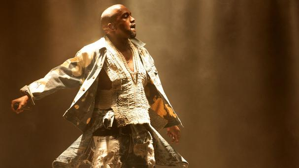 Kanye West headlining the Pyramid Stage at Glastonbury