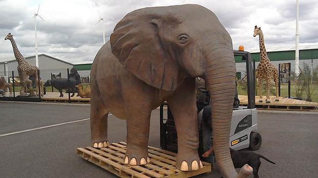 A 10ft plastic replica elephant which will feature in the last episode of the current series of Top Gear