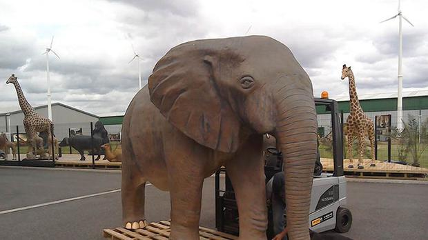 A 10ft plastic replica elephant which could feature in the last episode of the current series of Top Gear