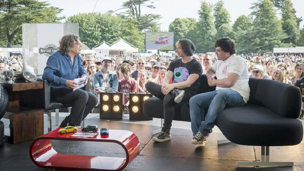 Alan Davies interviews Harry Potter star Rupert Grint and his Rallycross driver brother James on the ITV 4 programme Goodwood: The Moving Motor Show (ITV/PA)