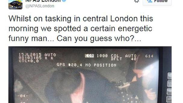 Screengrab taken from the Twitter feed of NPAS London run by the Metropolitan Police showing comedian Michael McIntyre taken by a police helicopter. Scotland Yard is investigating after the picture was posted on its Twitter account