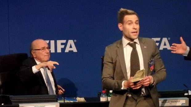 Simon Brodkin was arrested by police in Switzerland