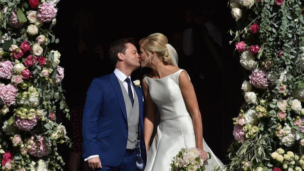 Newly married Declan Donnelly and Ali Astall after their wedding at St Michael's Church, Elswick, Newcastle.