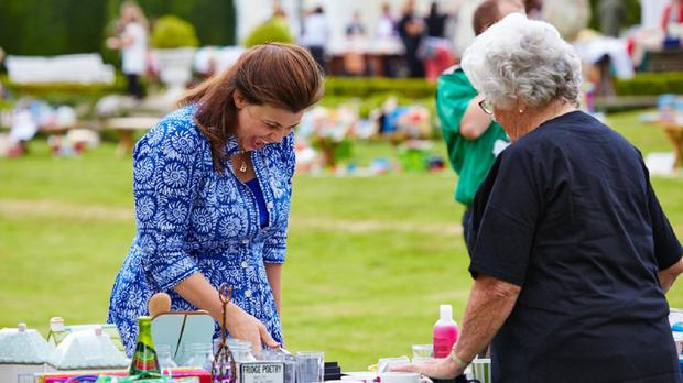 Kirstie Allsopp at a yard sale she hosted in the back garden of her Devon home in aid of Cancer Research UK and Channel 4's Stand Up To Cancer campaign (Stand Up To Cancer)