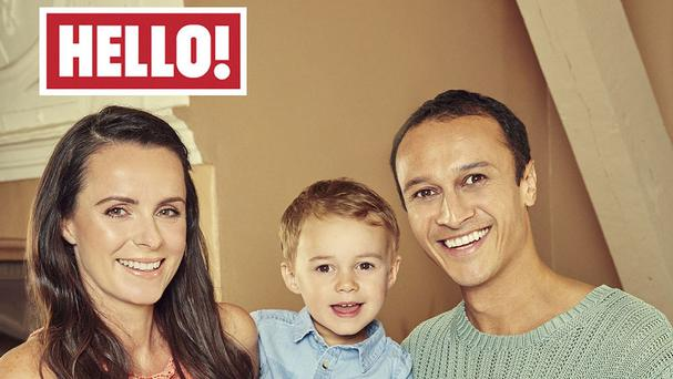 Rowena Finn, Chris Bisson and their son Harry appear in this week's edition of Hello! Magazine (Hello! Magazine/PA)