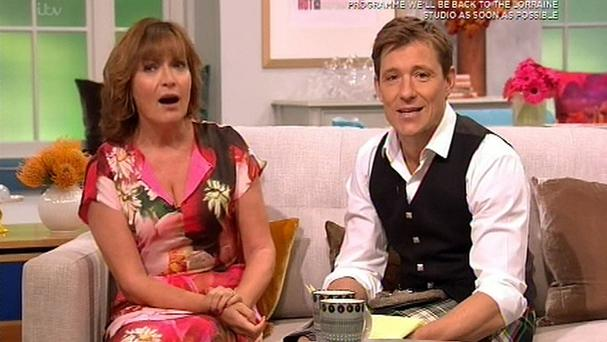 Video grab taken from ITV of a pre-recorded segment featuring Lorraine Kelly and Ben Shephard after Good Morning Britain was forced to evacuate the studio when the fire alarm went off (ITV/PA)