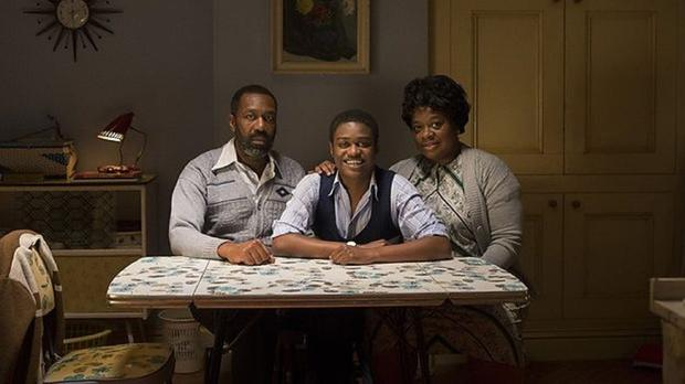 Lenny Henry, left, stars in the one-off drama alongside newcomer Kascion Franklin and Cecilia Noble as his mother Myrtle (BBC)