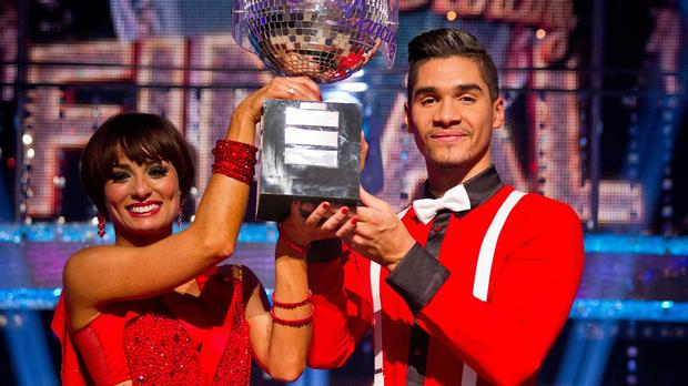 Flavia Cacace and Louis Smith after they won the Strictly Come Dancing in 2012