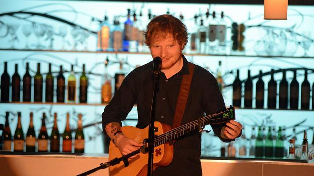 Ed Sheeran on the set for Home And Away where he is making a cameo appearance (Channel 5/PA)