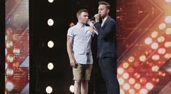 Jon Goody with presenter Olly Murs during the audition stage for the ITV1 talent show, The X Factor (Syco/Thames TV)