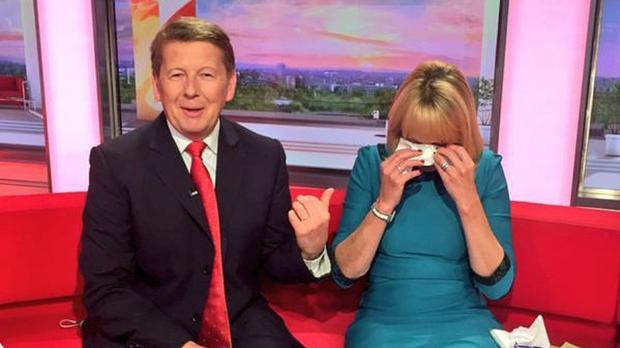 BBC Breakfast presenter Bill Turnbull who is leaving the show after 15 years, with a sobbing co-presenter Louise Minchin (@BBCBreakfast/PA)