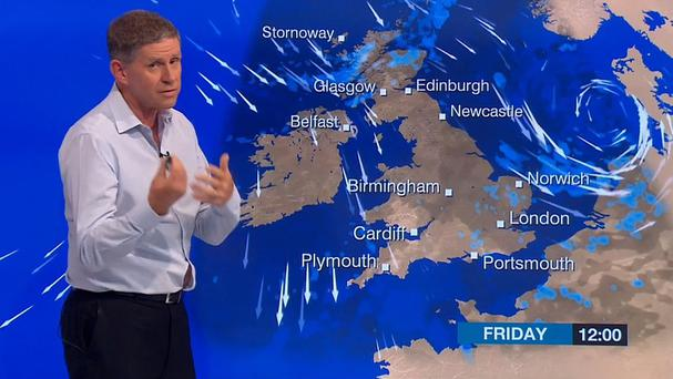 Screen grab taken from BBC News of weatherman Philip Avery suffering a slight wardrobe malfunction during Victoria Derbyshire's BBC Two show (BBC/PA)