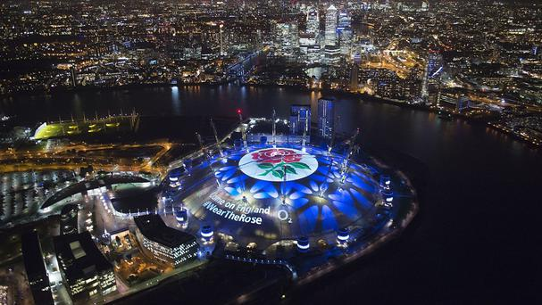 England fan's will have their messages of support beamed on to the roof of the O2 arena