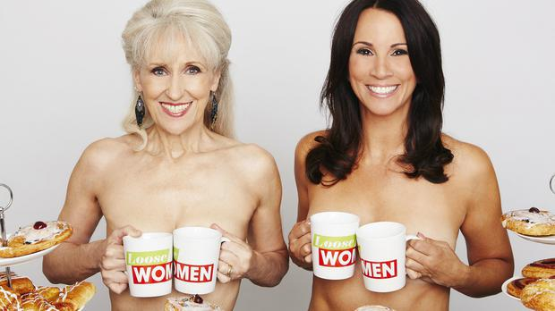 Loose Women anchor Andrea McLean and guest panellist Anita Dobson recreating their own version of the famous Calendar Girls photos (ITV/PA)