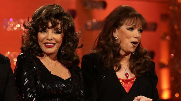 Joan, left, and Jackie Collins appearing together on the Graham Norton Show