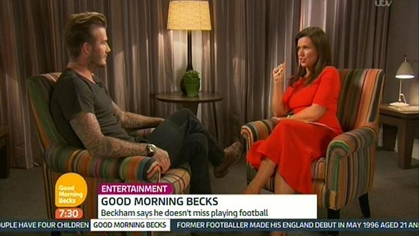 Good Morning Britain presenter Susanna Reid interviewing David Beckham. (Picture: ITV)