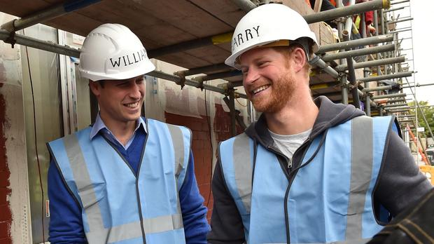 The Duke of Cambridge and Prince Harry during a visit to the BBC's DIY SOS Team for The Big Build: Veterans' Special