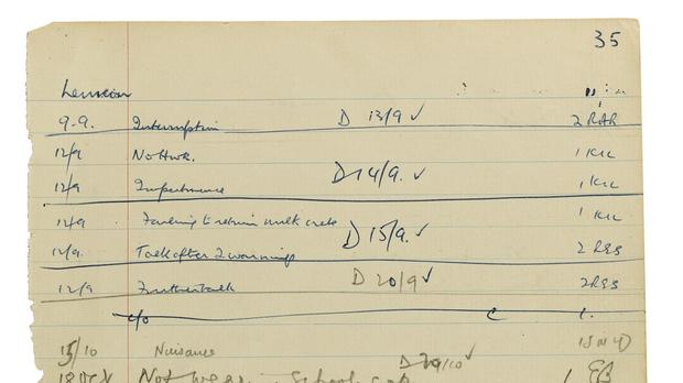 A lined sheet torn from John Lennon's school detention book will go on sale