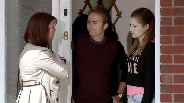 Coronation Street's Kylie and David, played by Paula Lane and Jack P Shepherd, face Callum's mum Marion, played by Susan Cookson