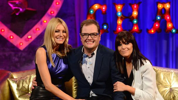 Alan Carr, Strictly Come Dancing presenter Tess Daly, left, and Strictly co-host Claudia Winkleman appearing on the latest edition of Alan Carr Chatty Man (Channel 4/PA)