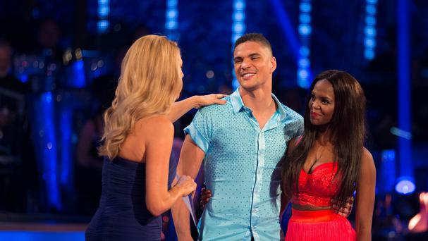 Strictly host Tess Daly, Anthony Ogogo and his dance partner Otlile Mabuse (BBC)