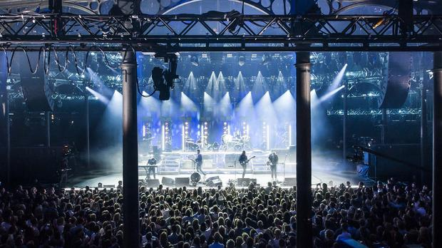 Mumford and Sons performing at the Apple Music festival at the Roundhouse in Camden, London