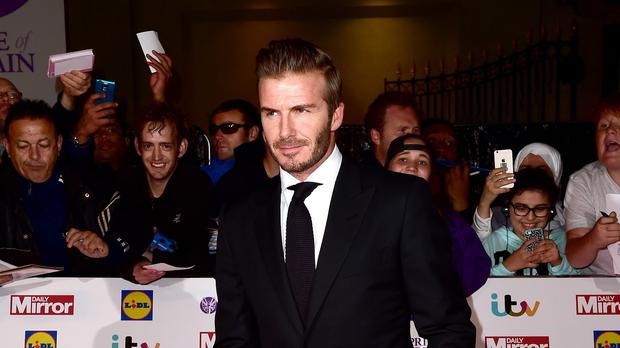 David Beckham arriving for The Pride of Britain Awards