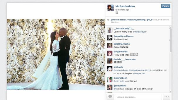 The Instagram feed of Kim Kardashian, whose post from her wedding to rapper Kanye West was the most popular picture on Instagram in 2014 with 2.4 million likes