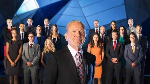 Lord Sugar in front of the candidates for this year's series of The Apprentice on BBC1 (BBC/PA)