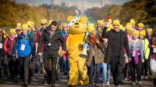 Countryfile presenter and current Strictly Come Dancing contestant Anita Rani (centre right), with her dance partner Gleb Savchenko (right), during a Countryfile ramble event in Windsor Great Park to raise money for BBC Children in Need. (BBC/PA)