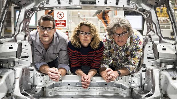 Ant Anstead, Kate Humble and James May will present Building Cars Live (BBC/PA)