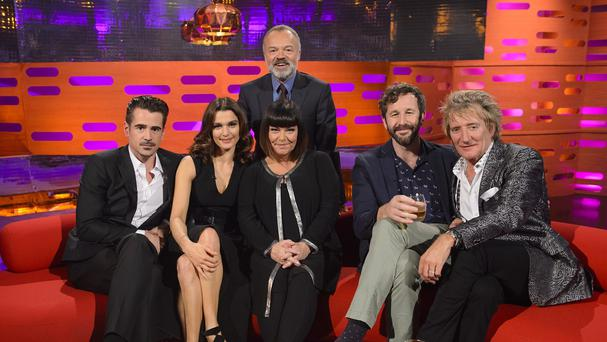 Host Graham Norton (back) with his guests Colin Farrell, Rachel Weisz, Dawn French, Chris O'Dowd and Rod Stewart