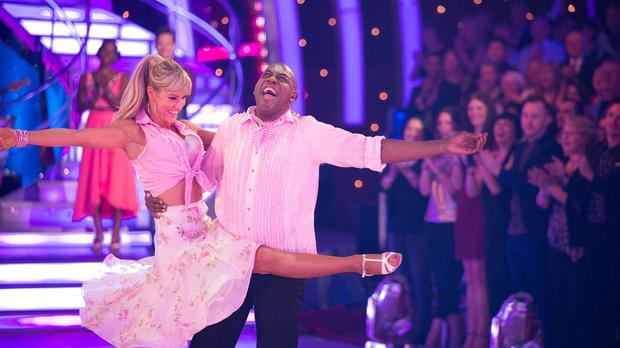 Ainsley Harriott and Natalie Lowe during their final dance after becoming the fourth celebrity to exit Strictly Come Dancing (BBC/PA)