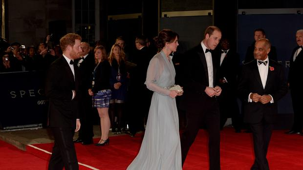 The royal party arriving at the premiere