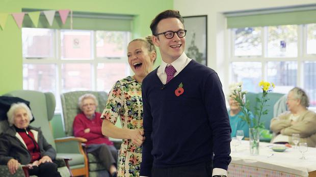 Kellie Bright and Kevin Clifton at a tea dance at a community centre in London.