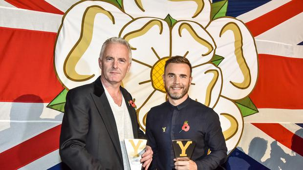 Tim Firth (left) and Gary Barlow after they were made honorary Yorkshireman at a Yorkshire tourism awards ceremony in Leeds, just days before the premiere of his new musical inspired by the Women's Institute's Calendar Girls.